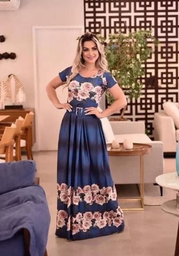 Vestido Longo Sonho Meu Saia Bella  SRB7777 Azul B