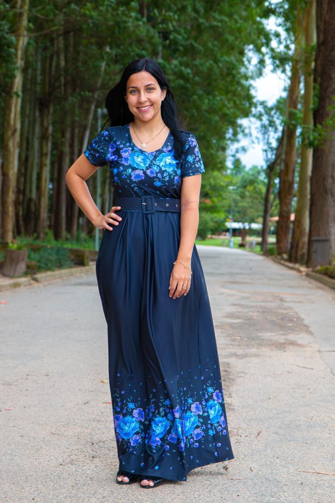 Vestido Longo Sonho Meu Saia Bella  SRB7777 Azul Marinho