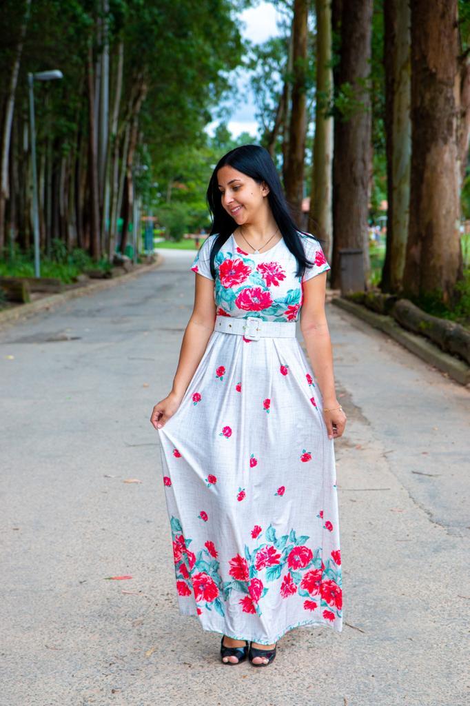 Vestido Longo Sonho Meu Saia Bella  SRB7777 Vermelho