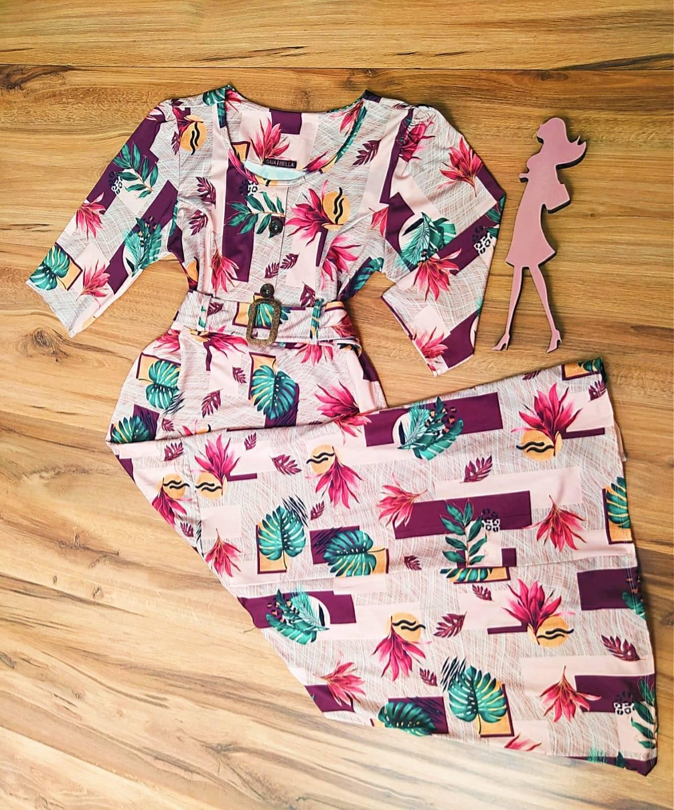 Vestido Longo Tania 3/4 Saia Bella SB5119 Marsala