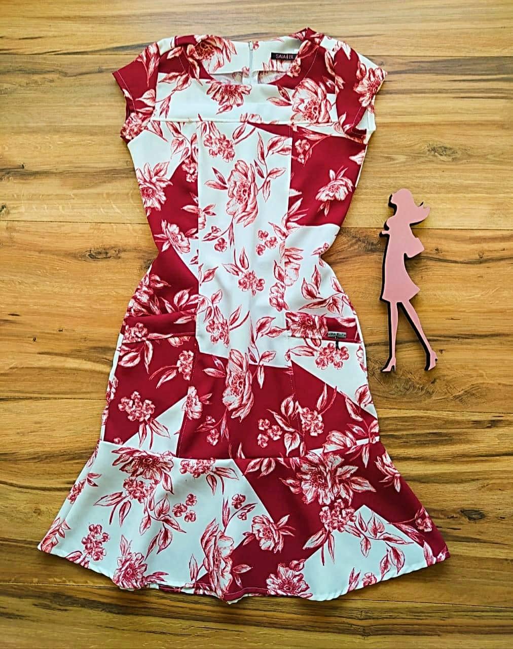 Vestido Lúcia   Saia Bella SB5611 - Vermelho