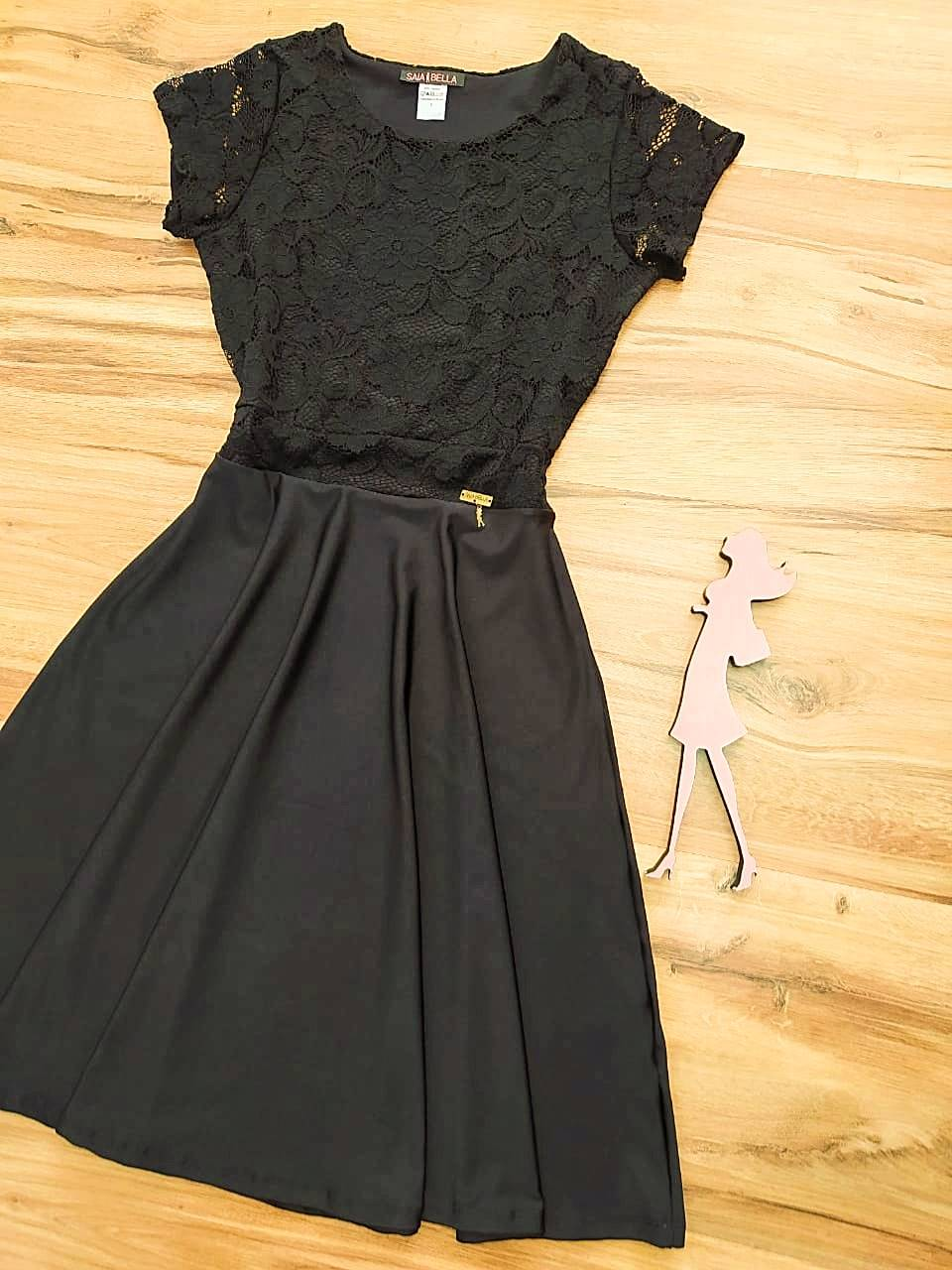 Vestido LYA Godê  Saia Bella SB700098 -  Preto