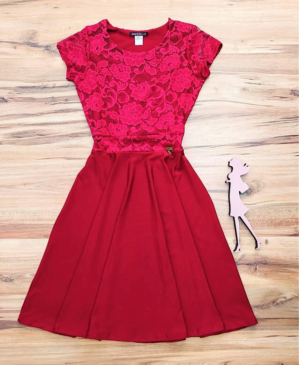 Vestido LYA Godê  Saia Bella SB700098 - Vermelho