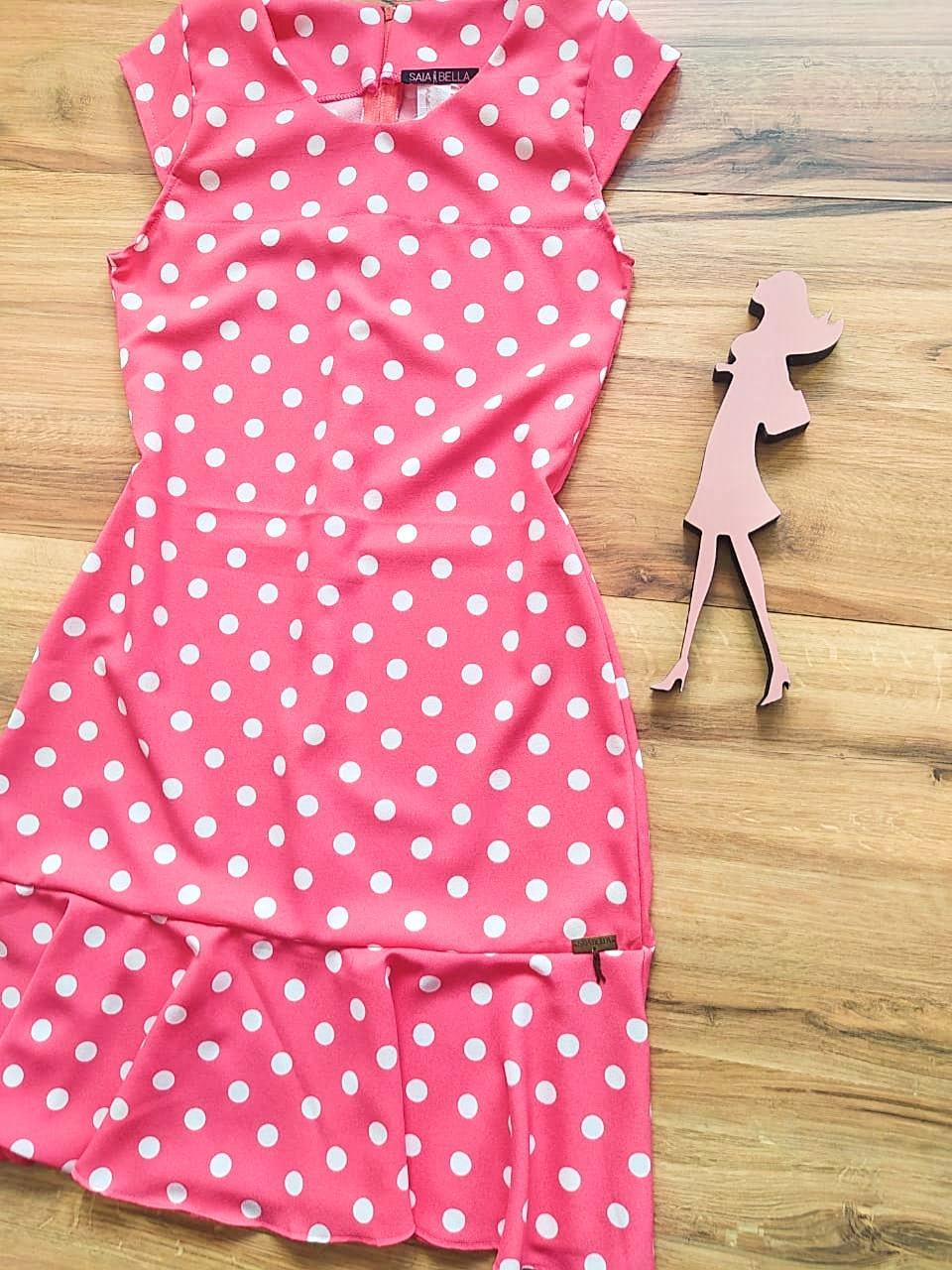 Vestido  Margarida Saia Bella SB75122 - Poá Pink