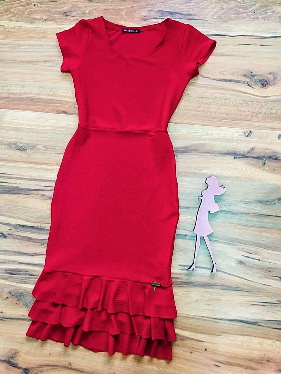 Vestido Marina Peplum Saia Bella SB774011 vermelho