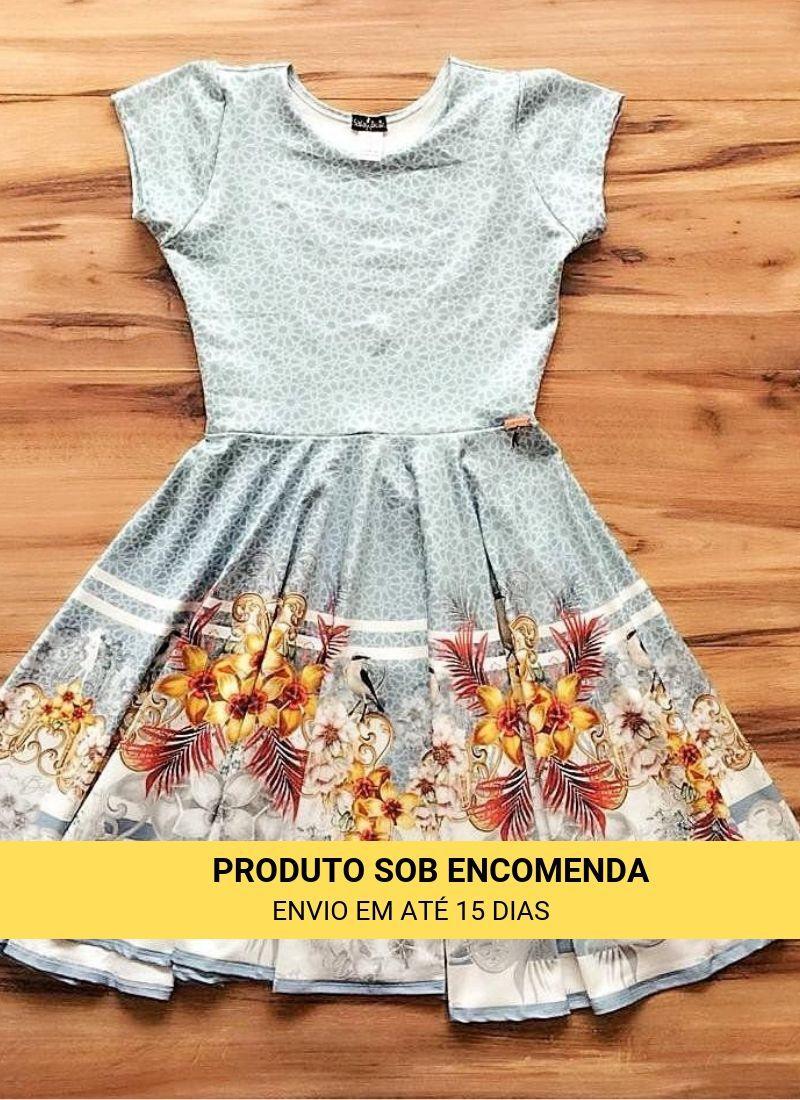 Vestido Midi Beija Flor Azul Saia Bella cod SBE024