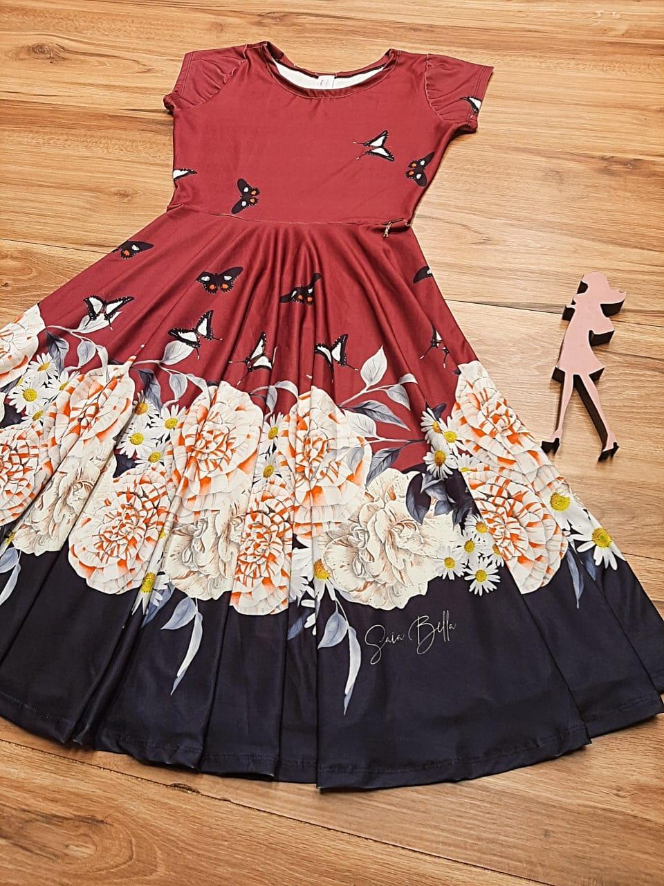 Vestido Midi Butterfly Saia Bella cod SB882