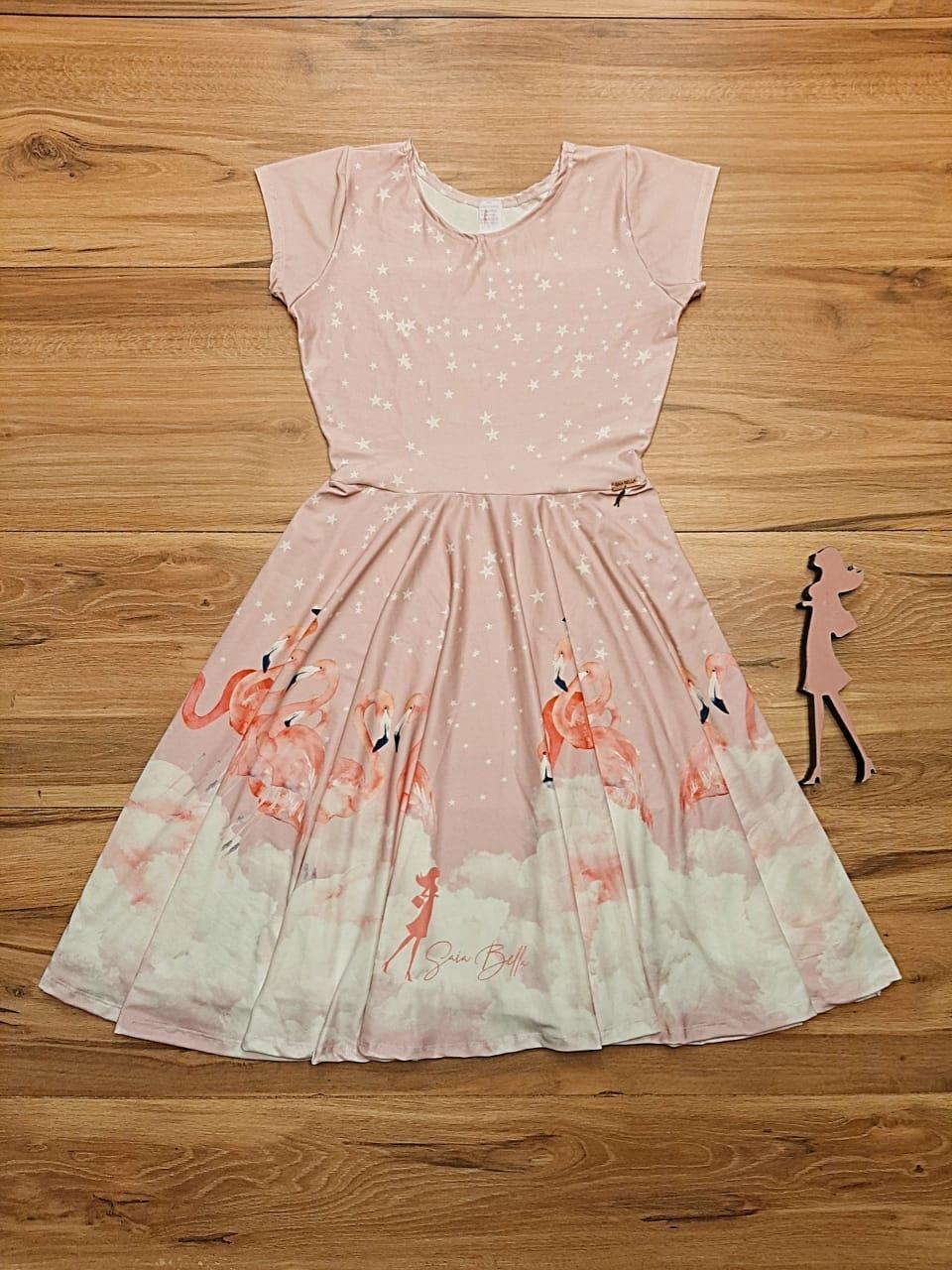 Vestido Midi Flamingos Saia Bella cod SB885