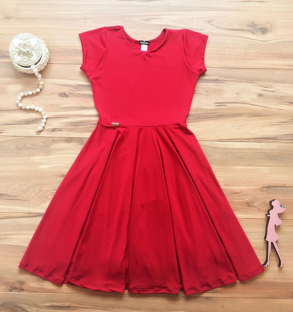 Vestido Midi Liso Saia Bella SB851 Vermelho