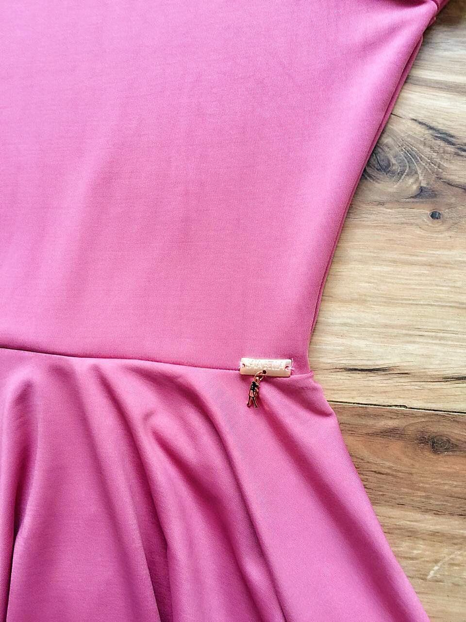 Vestido Midi Liso Saia Bella SB851 Rosa