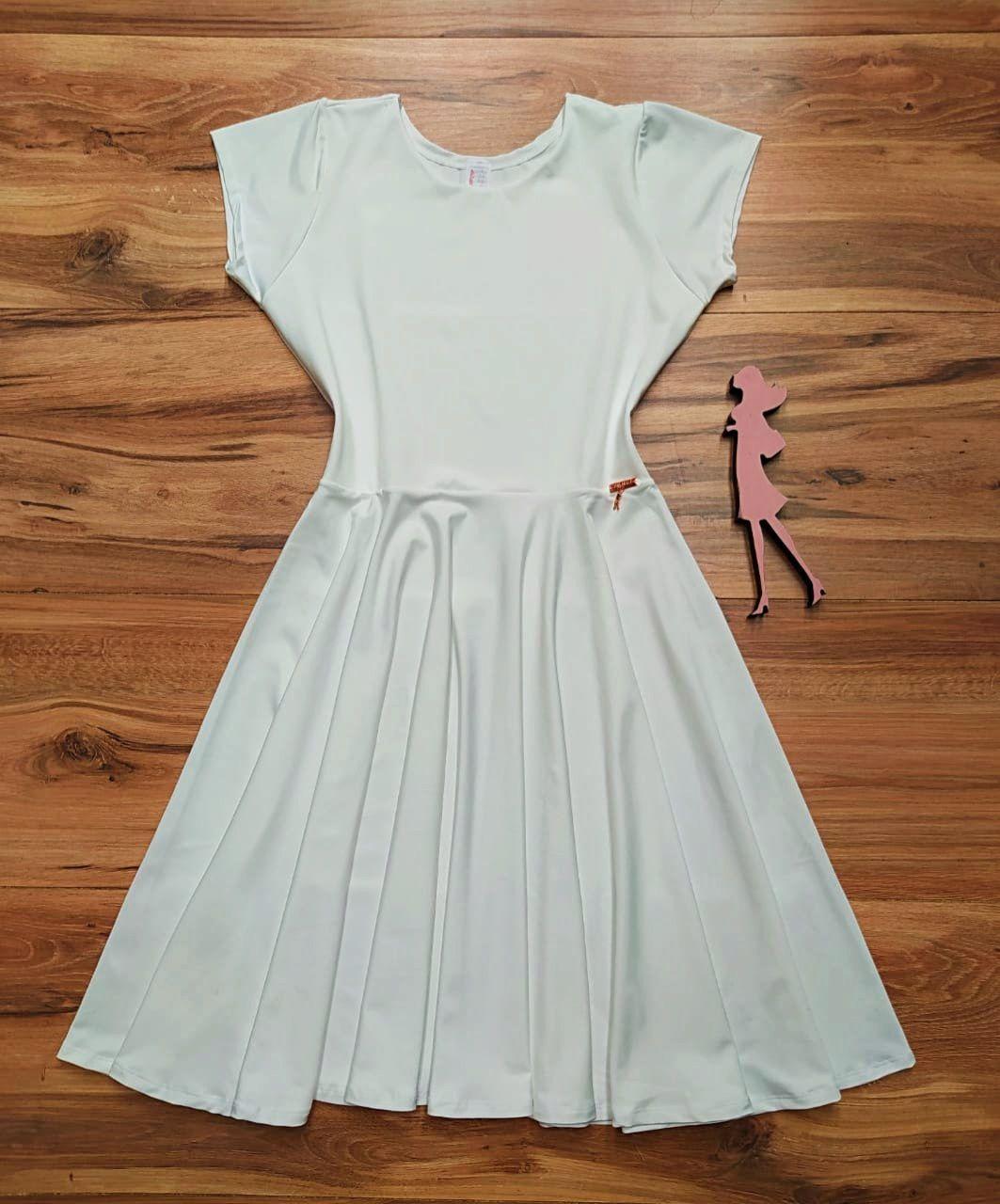 Vestido Midi Liso Saia Bella  SB851 Branco