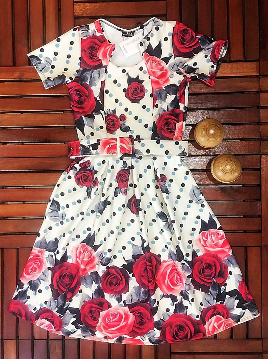 Vestido Midi Luzia Saia Bella cod SB833 - PRONTA ENTREGA