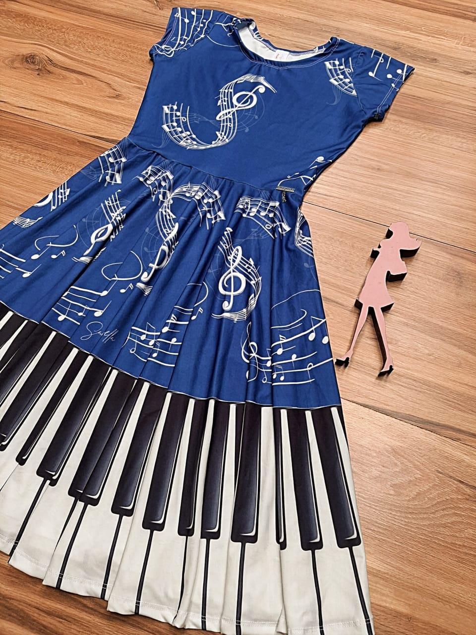 Vestido Midi Mozart Saia Bella cod SB886A