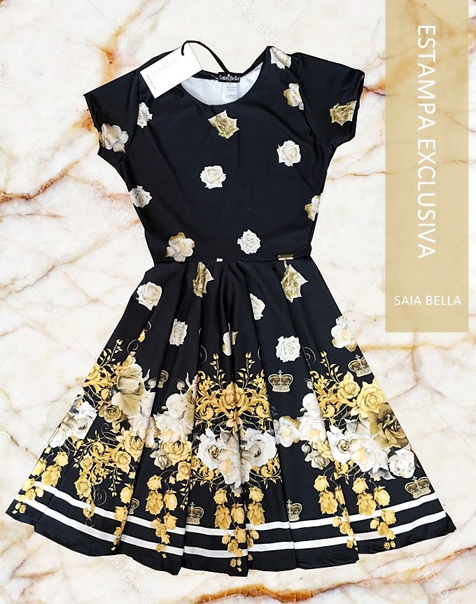 Vestido Midi Realeza Saia Bella cod SBE005 - PRONTA ENTREGA