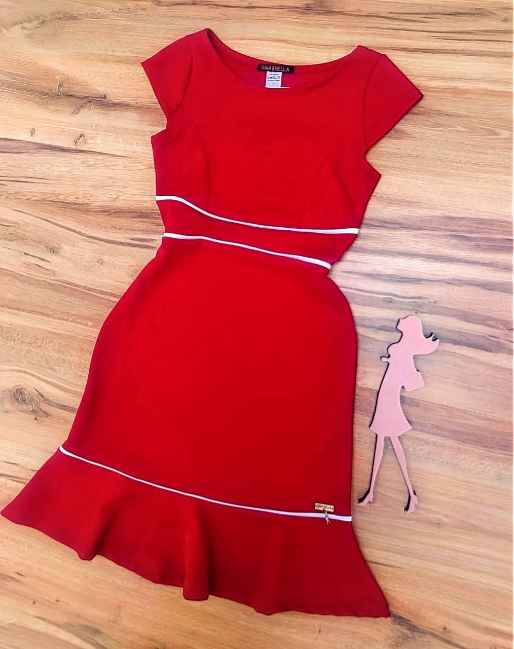 Vestido Morgana Peplum Saia Bella SB2908803 Vermelho