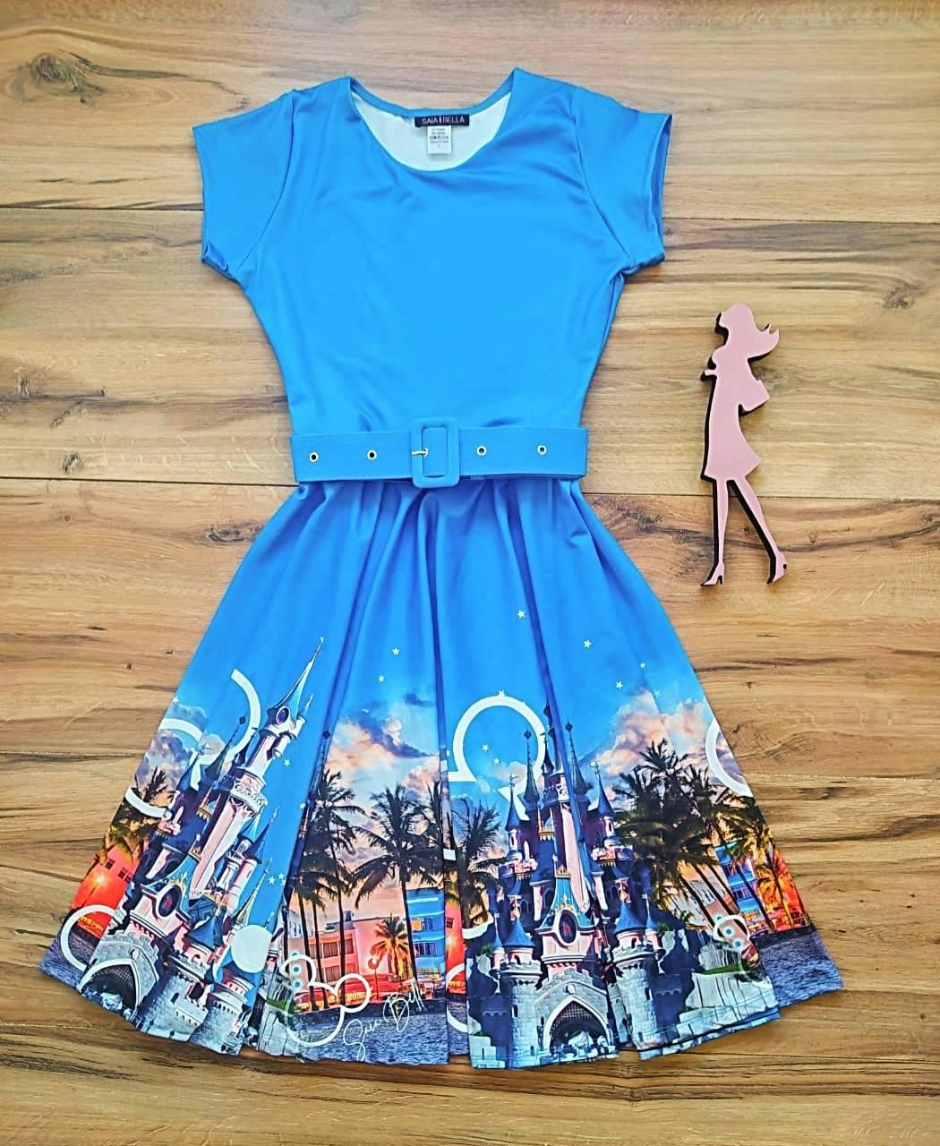 Vestido Orlando Modelo Midi/ Godê  - Saia Bella cod SB3302 - Azul