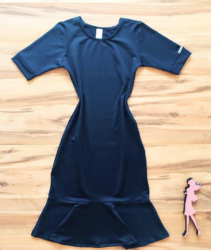 Vestido Peplum Liso Saia Bella  SB856 Azul Marinho
