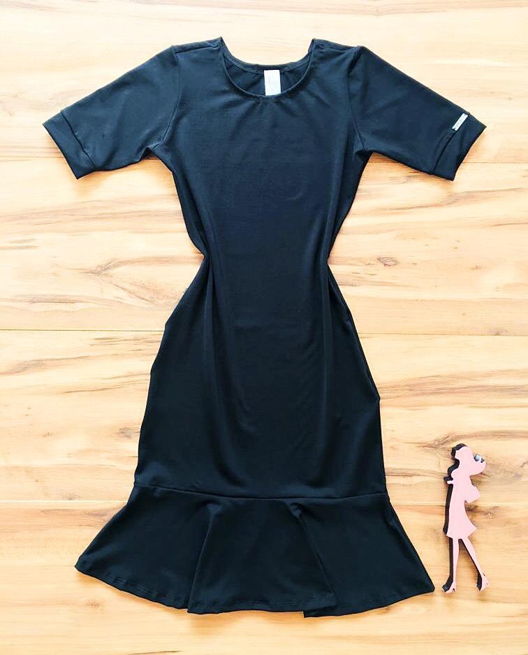 Vestido Peplum Liso Saia Bella  SB856 Preto