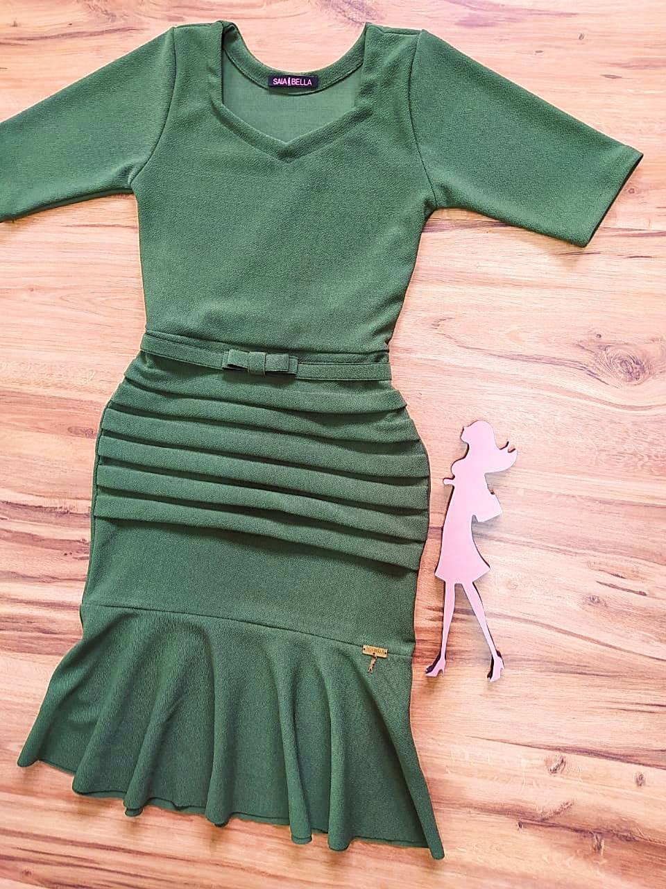 Vestido Peplum Roberta Saia Bella - SB7100875 -  Verde