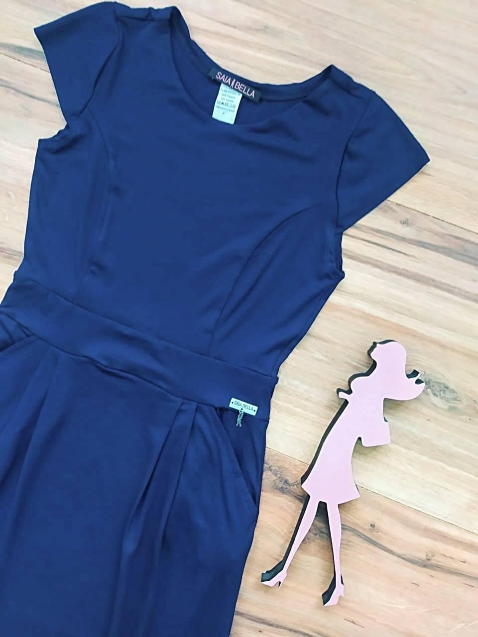 Vestido Polly modelo Reto Saia Bella SB3956  Azul Marinho