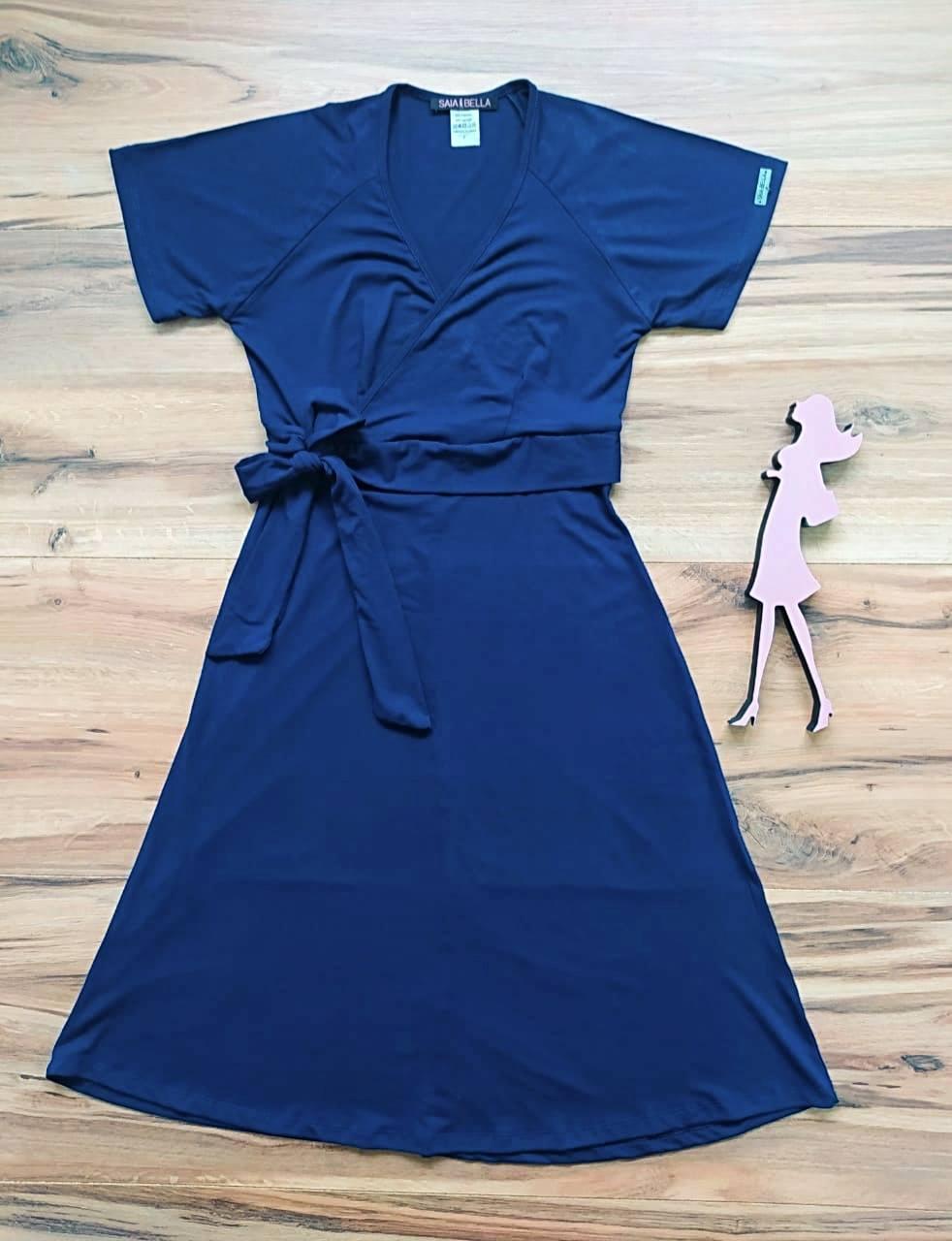 Vestido Riana Transpassado Saia Bella SB3955 Azul Marinho