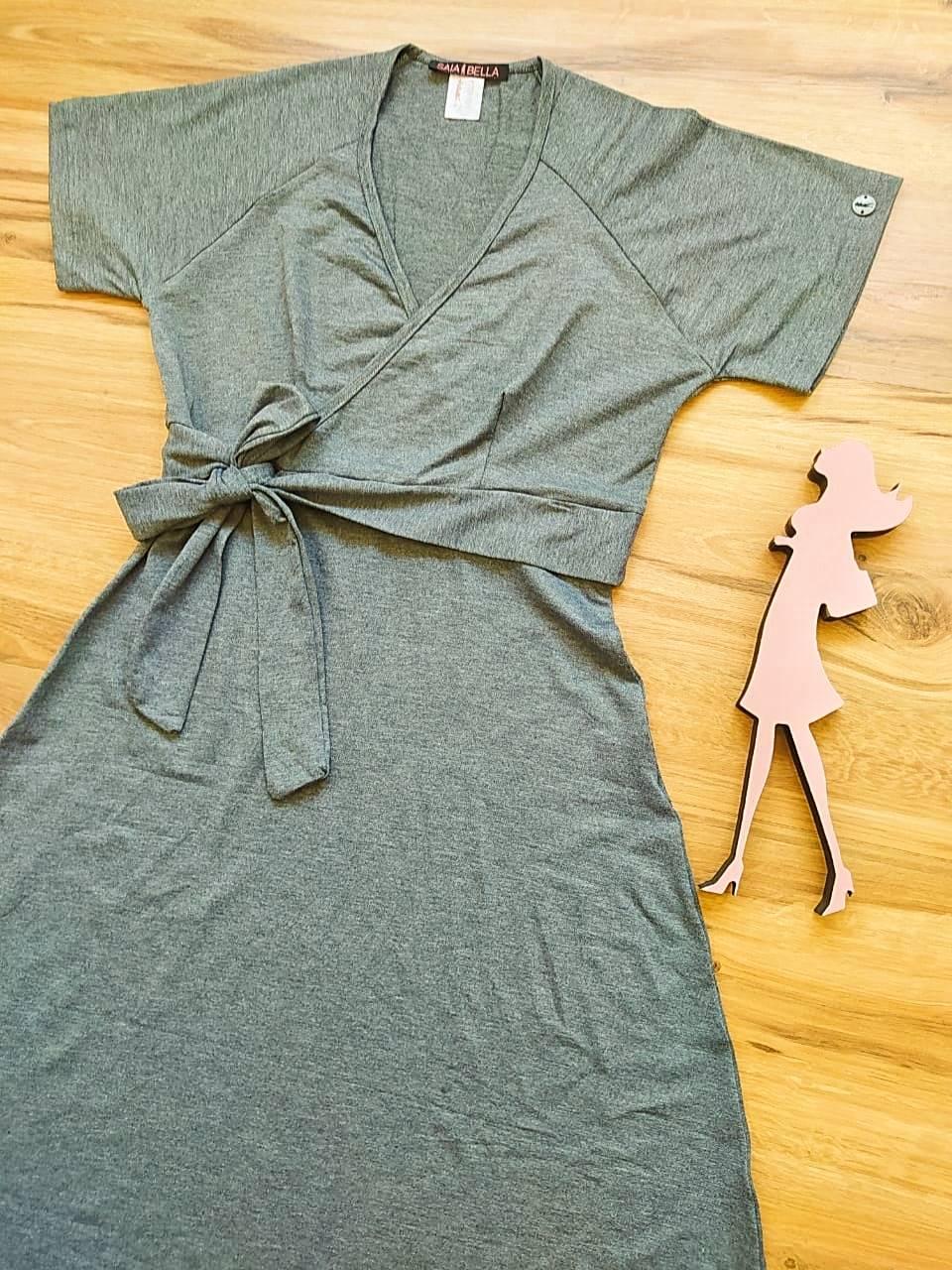Vestido Riana Transpassado Saia Bella SB3955 Cinza