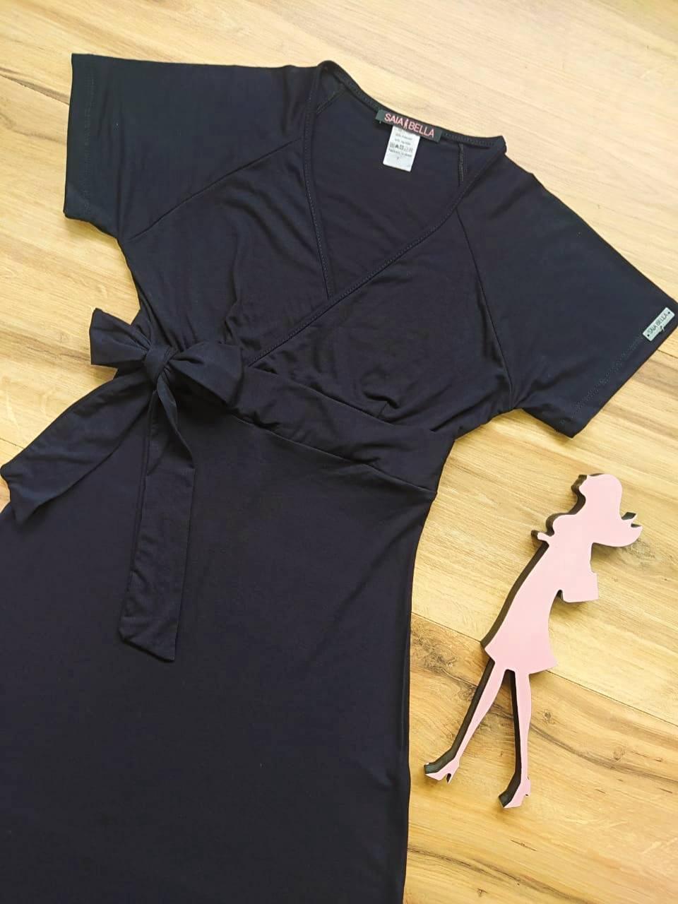 Vestido Riana Transpassado Saia Bella SB3955 Preto