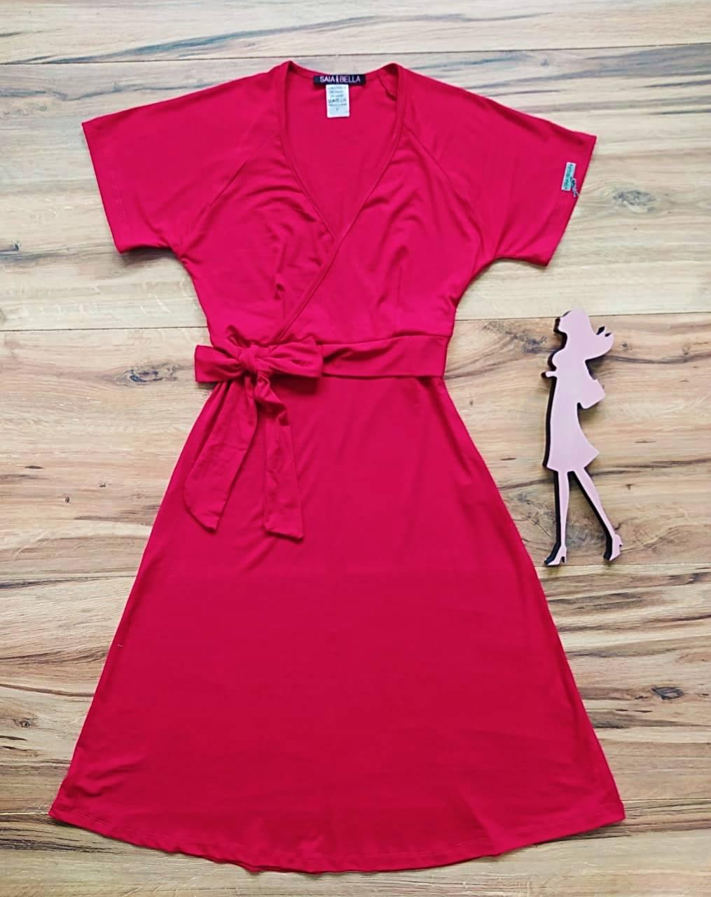 Vestido Riana Transpassado Saia Bella SB3955 Vermelho