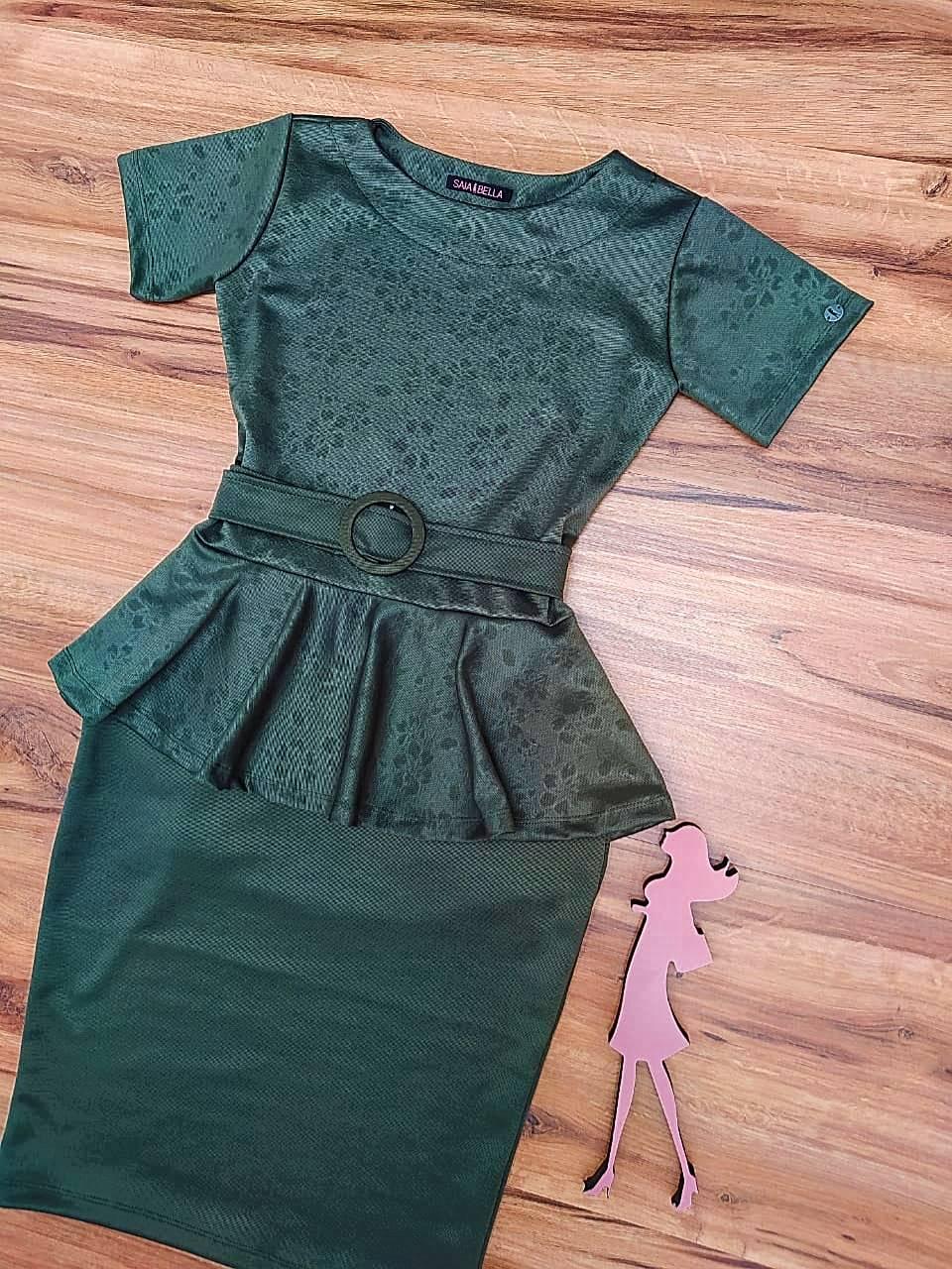 Vestido Tubinho Analice Saia Bella  SRB897704 Verde Militar