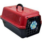 Caixa Transporte Cães E Gatos N 01 Vermelha Pet Un/1