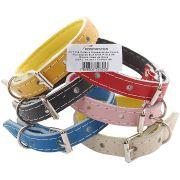 Coleira De Couro Forrada Eva N04 Color Pet Pacote com 6 peças