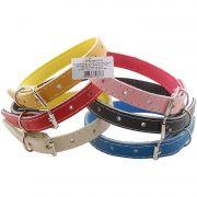Coleira De Couro Forrada Eva N08 Color Pet Pacot com 6 peças
