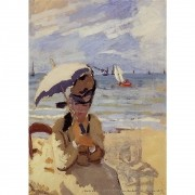 Pôster Decorativo A4 Camille Sitting on the Beach at Trouville 1871 - Claude Monet Cosi Dimora