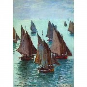 Pôster Decorativo A4 Fishing Boats Calm Sea - Claude Monet Cosi Dimora