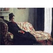 Pôster Decorativo A4 Meditation Madame Monet Sitting on a Sofa 1871 - Claude Monet Cosi Dimora