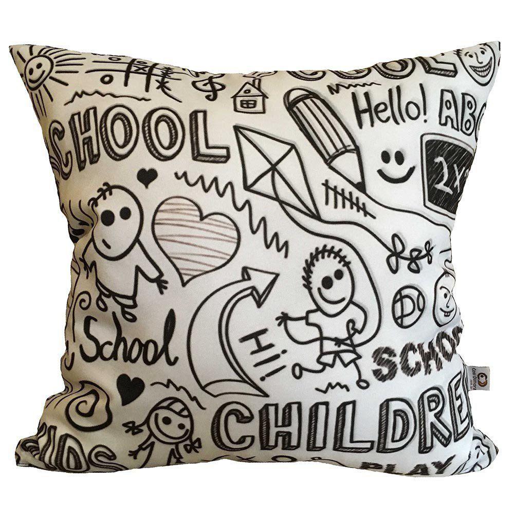 Almofada Desenhos de Lousa Infantil 40x40cm Cosi Dimora