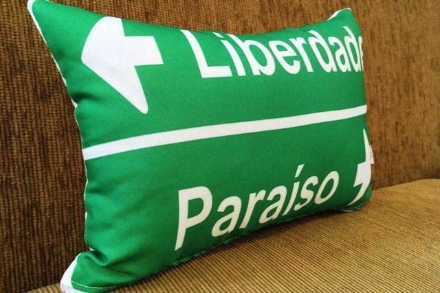 Almofada Placa Liberdade x Paraíso 25x35cm Cosi Dimora