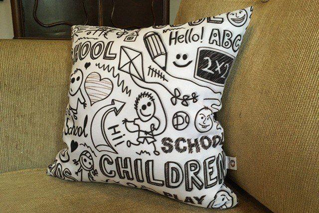 Capa de Almofada Desenhos de Lousa Infantil 40x40cm Cosi Dimora