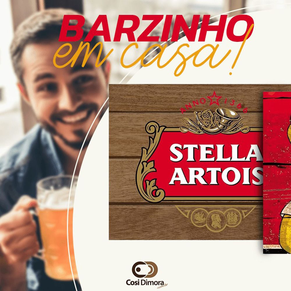 Jogo Americano Lona Emborrachada Cerveja Brahma Black 4 peças Cosi Dimora