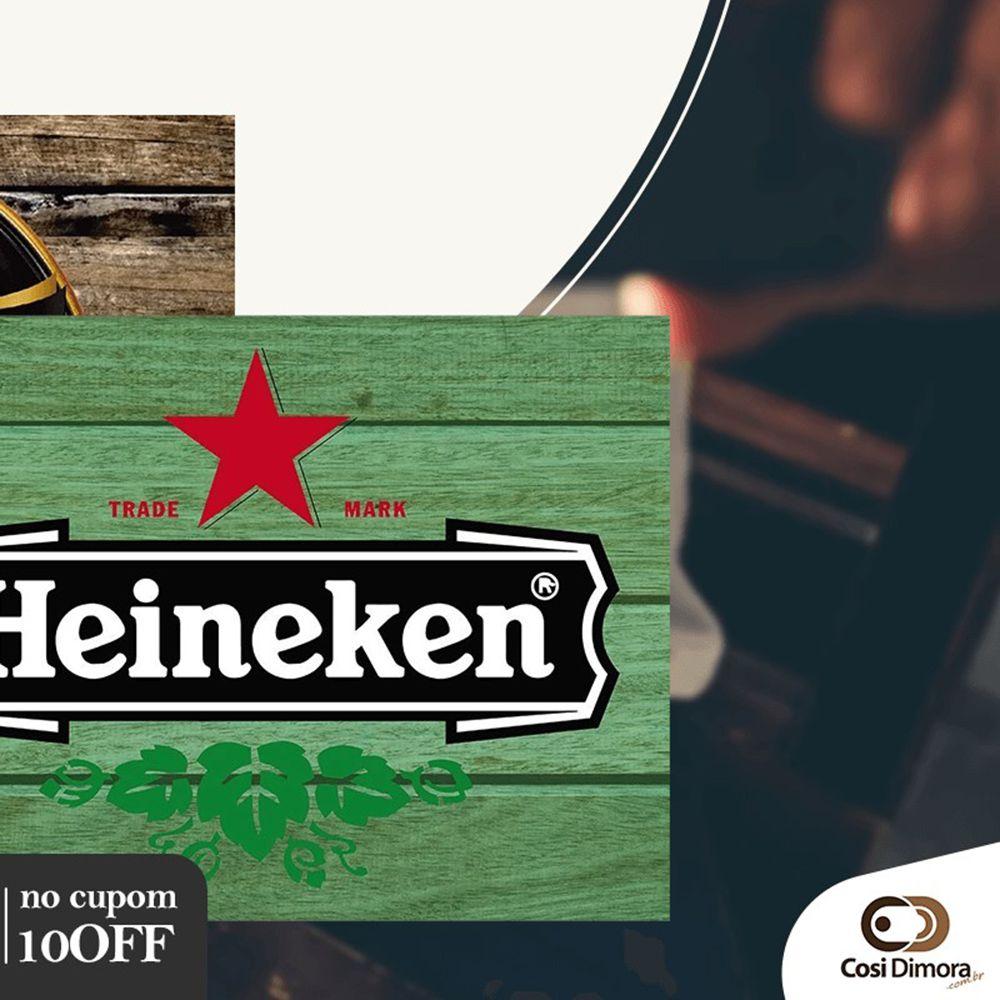 Jogo Americano Lona Emborrachada Cerveja Heinekein 4 peças Cosi Dimora