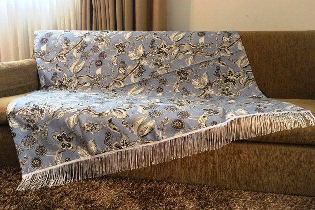 Kit Manta para Sofá e Almofadas Floral Azul Cosi Dimora