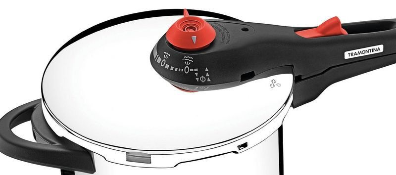 Panela de pressão Tramontina aço inox fundo triplo 4,5 litros Ø22cm + cozi-vapore