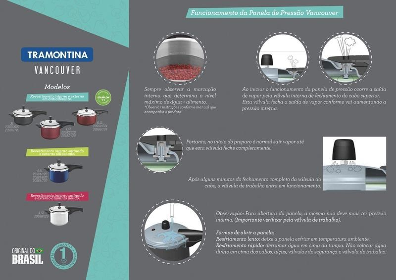 Panela de pressão Tramontina alumínio antiaderente 6 litros 24cm