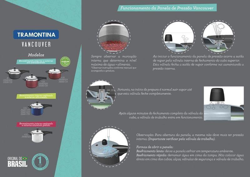 Panela de pressão Tramontina alumínio 4,5 litros Ø20cm