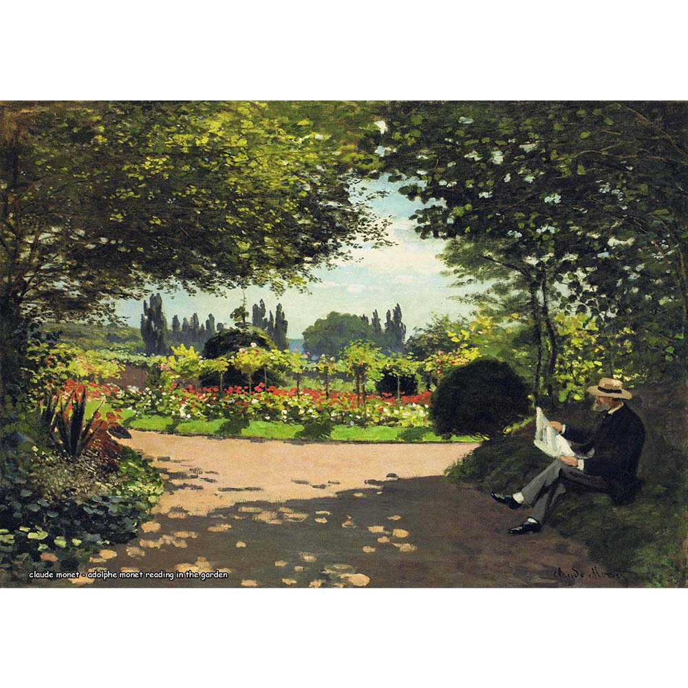 Pôster Decorativo A4 Adolphe Monet Reading in the Garden - Claude Monet Cosi Dimora