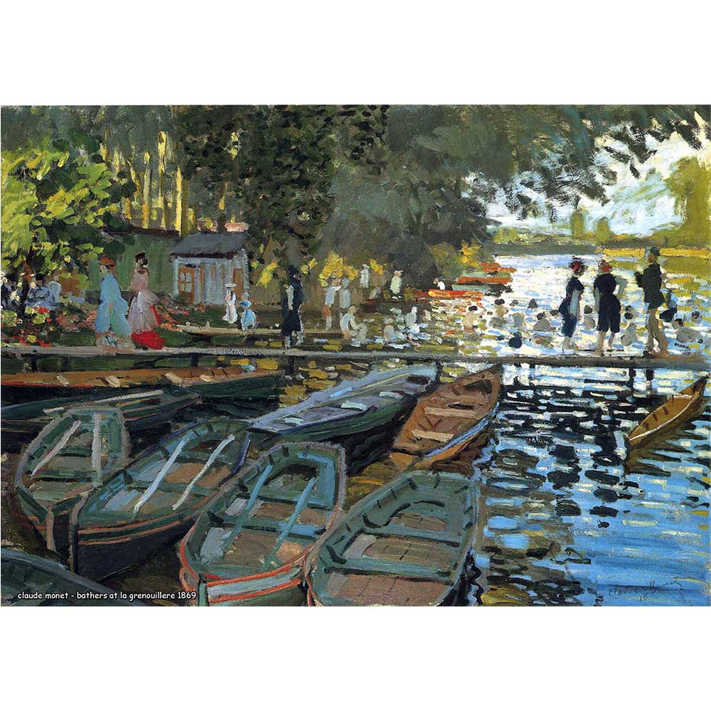 Pôster Decorativo A4 Bathers at la Grenouillere 1869 - Claude Monet Cosi Dimora