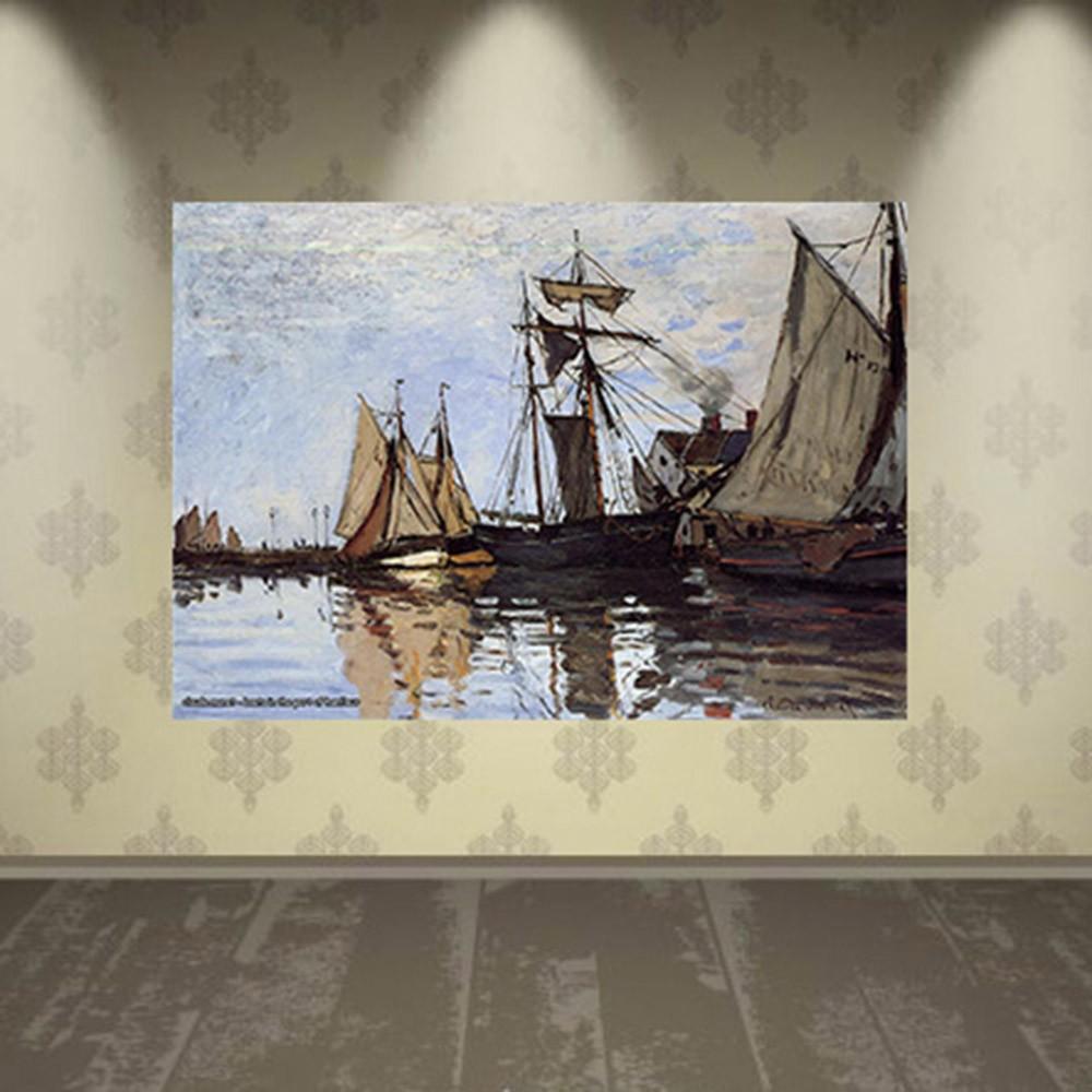 Pôster Decorativo A4 Boats in the Port of Honfleur - Claude Monet Cosi Dimora