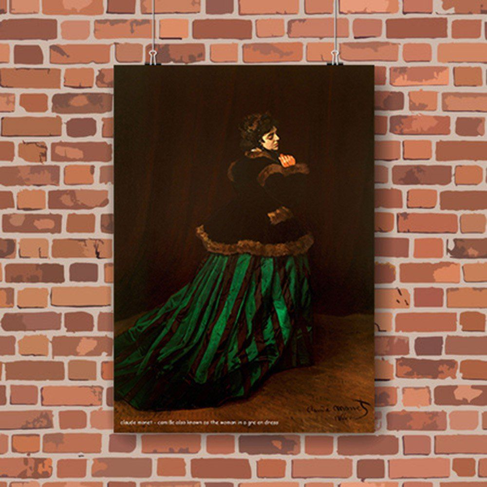 Pôster Decorativo A4 Camille Also Known as the Woman in a Green Dress - Claude Monet Cosi Dimora