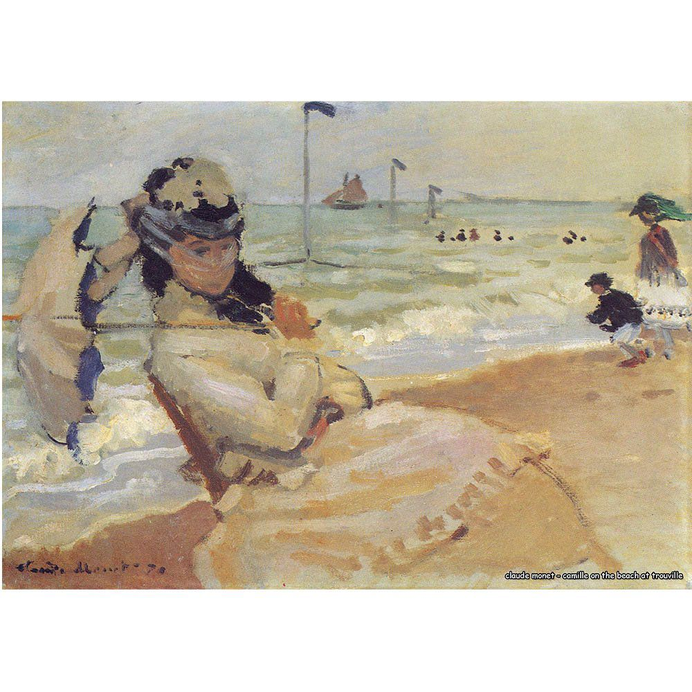 Pôster Decorativo A4 Camille on the Beach at Trouville - Claude Monet Cosi Dimora