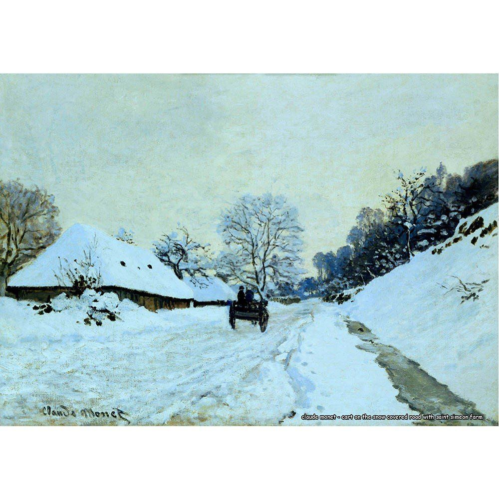 Pôster Decorativo A4 Cart on the Snow Covered Road With Saint Simeon Farm - Claude Monet Cosi Dimora